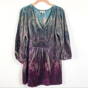 One World Velvet, 3/4 Sleeve, Floral Shirt XL